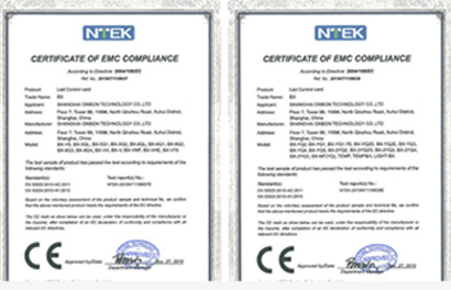 In Oct 2015,All of BX led controllers have been certified by the CE.